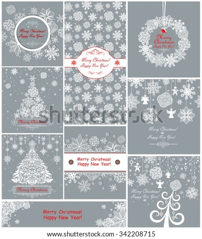 Pastel xmas greeting cards with paper snowflakes - stock vector