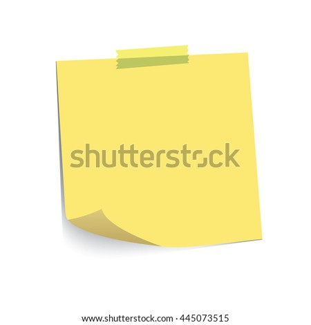 Pastel Yellow paper note and adhesive tape with curled corner, ready for your message. Vector illustration. Isolated on white background. Front view. Top view. Close up.