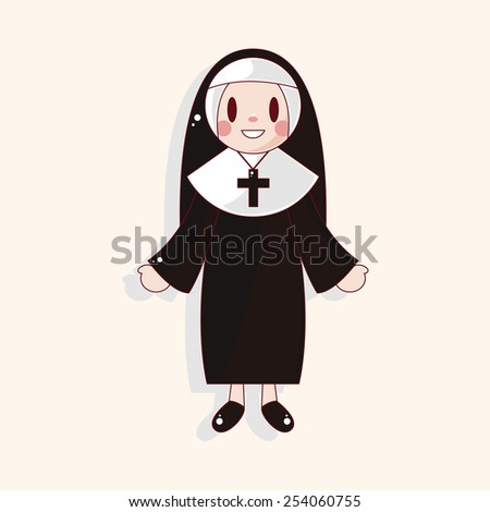 pastor and nun theme elements - stock vector