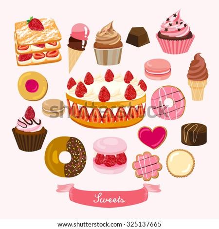 Pastry and Dessert Vector Design Illustration - stock vector