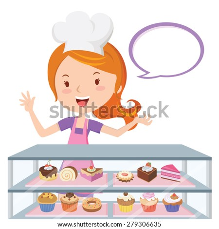 Pastry chef. Vector illustration of a pretty girl in the confectionery shop. - stock vector