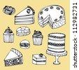 pastry/desserts vector/illustration - stock vector
