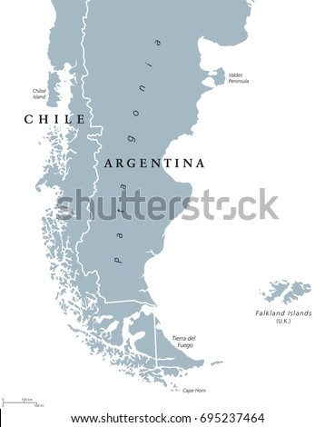 Patagonia Political Map Southern End Continent Stock Vector