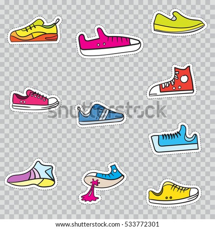 Patch Badges with Shoes and Sneakers. Vector illustration isolated on transparent background. Set Pack of stickers, pins, patches in cartoon 80's - 90's comic style.