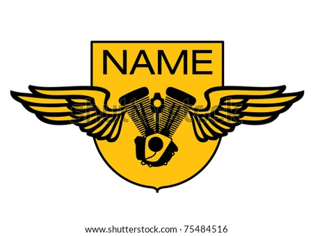Patch - biker club, winged engine - stock vector