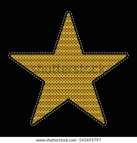 Patch Knitted Star Wicker Pattern Flat Stock Vector 542693797