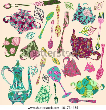 Patch silhouettes for scrap booking of tea theme - stock vector
