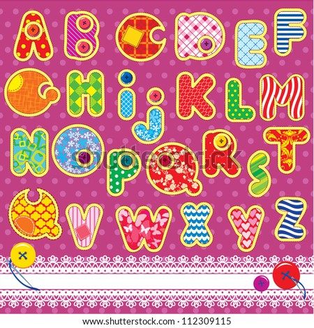 Patchwork ABC alphabet - letters are made of different ornamental fabrics - stock vector