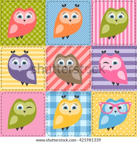 patchwork background with colorful owls - stock vector