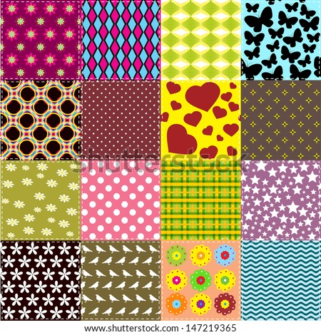 Patchwork background with different pattern / Seamless pattern with scrap quilt