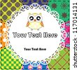 Patchwork background with owl - stock vector