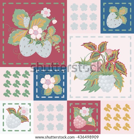 Patchwork background with strawberries and raspberries. Seamless vector pattern. Blue vinous pink backdrop. - stock vector