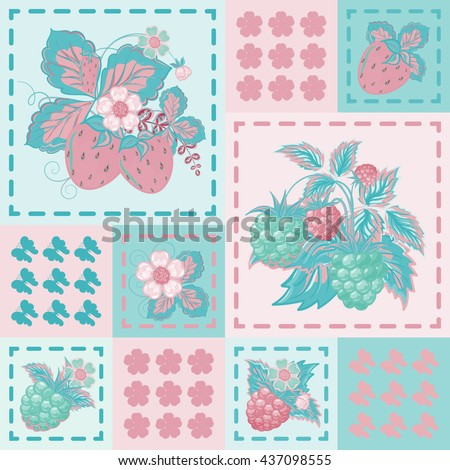 Patchwork background with strawberries and raspberries. Seamless vector pattern. Delicate pink blue backdrop. - stock vector
