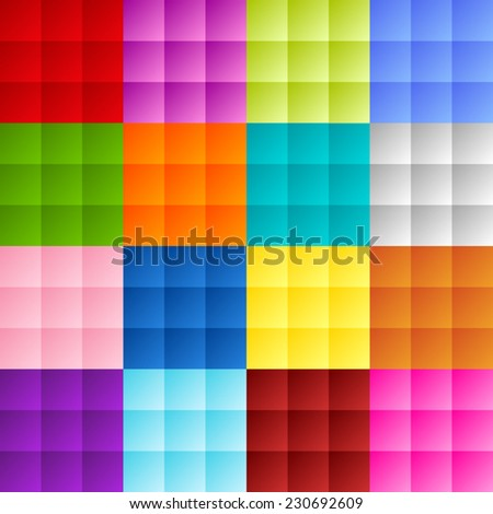 Patchwork of colorful squares or pixels in bright gradient colors - stock vector