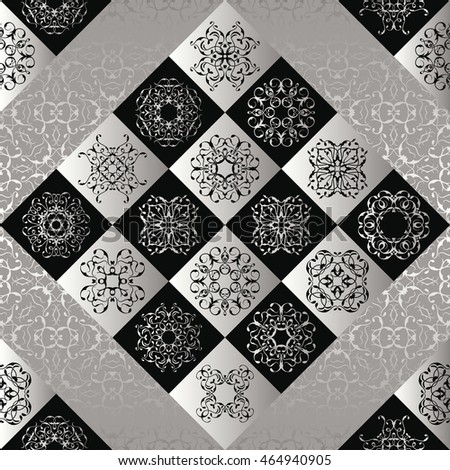 Patchwork pattern. Vintage texture with silver and black tiles. Retro design