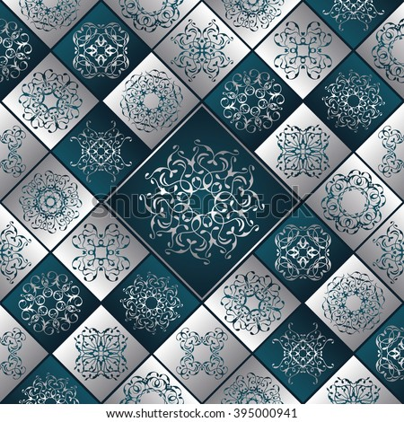 Patchwork pattern. Vintage textures with tiles. Retro style. Silver and blue design