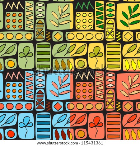 Patchwork seamless pattern, four colors set, vector - stock vector
