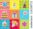 patchwork with birthday party elements - stock vector