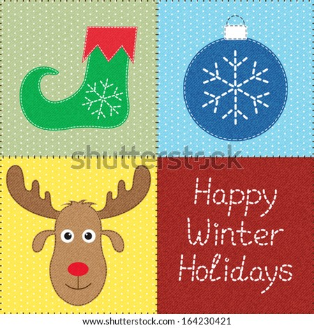 Patchwork with Christmas motifs. Can be used as seamless pattern. Texture can be easily removed - stock vector