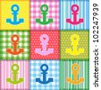 Patchwork  with colorful anchors.Seamless baby background - stock vector
