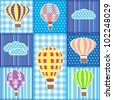 Patchwork with colorful hot air balloons.Seamless baby background - stock vector