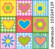 Patchwork with hearts and flowers.  Vector seamless background - stock vector