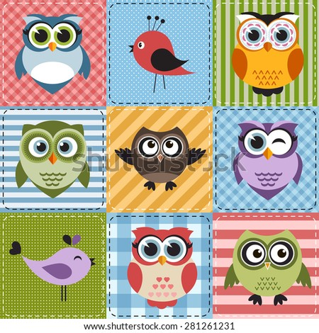 Patchwork with owls and birds - stock vector