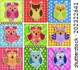 Patchwork with owls. Baby seamless background - stock vector