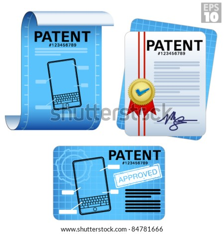 Patent documents, approved legal certificates, blueprints, paper scroll icons - stock vector