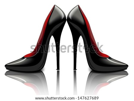 Patent leather black shoes, vector illustration - stock vector