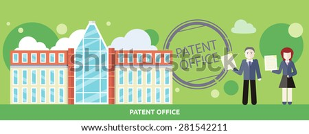 Patent office concept in flat design. Attorneys patent agents man and woman holding certificates of invention. For web banners, promotional materials, presentation templates - stock vector