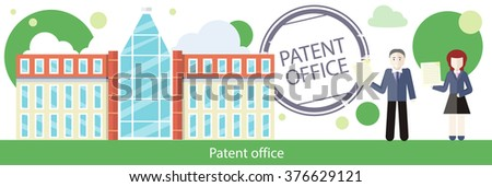 Patent office concept in flat design. Attorneys patent agents man and woman holding certificates of invention. Patent idea protection. Copyright and law, patenting copyright, intellectual property - stock vector