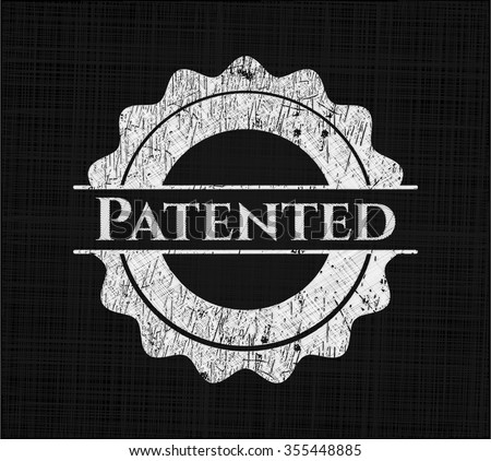 Patented chalk emblem written on a blackboard - stock vector