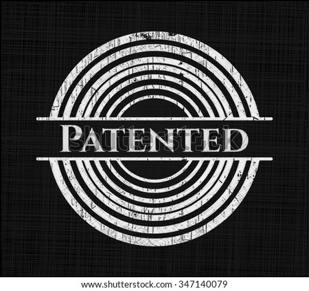 Patented chalkboard emblem written on a blackboard - stock vector