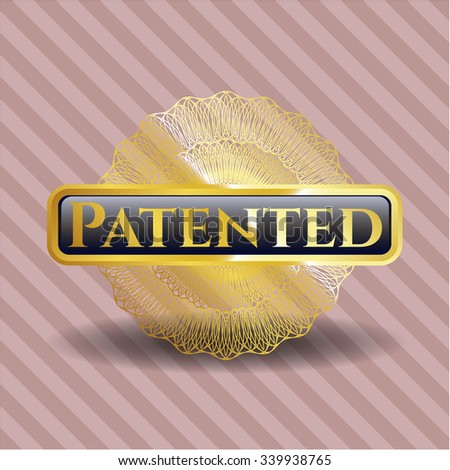 Patented gold badge - stock vector