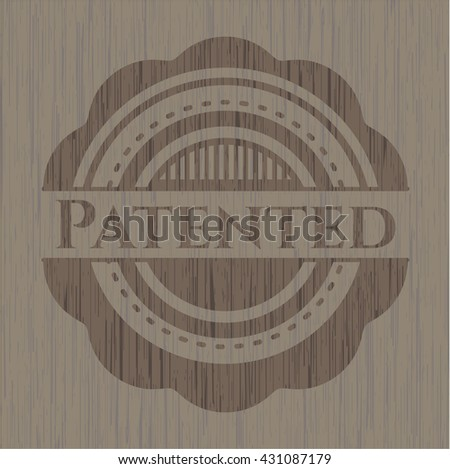 Patented retro wooden emblem - stock vector
