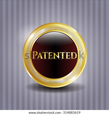 Patented shiny emblem - stock vector
