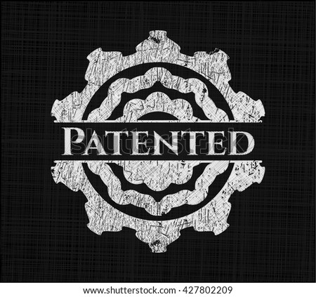 Patented written with chalkboard texture - stock vector