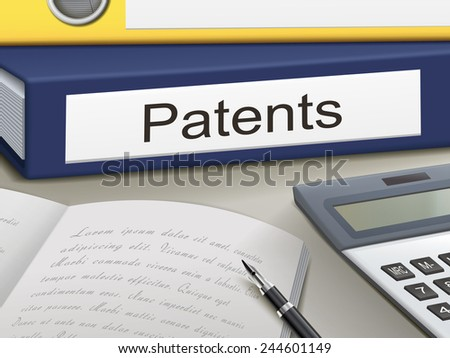 patents binders isolated on the office table - stock vector