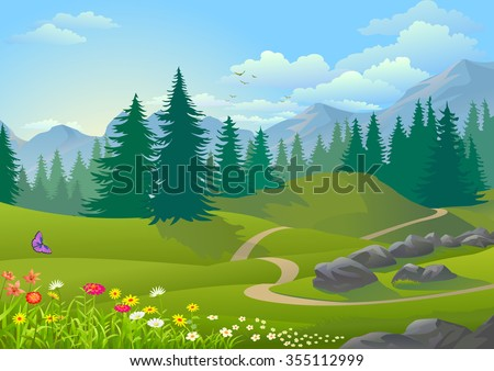 Path across a vegetative, serene and green forest