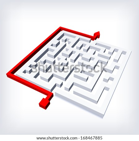 Path across labyrinth. Vector illustration