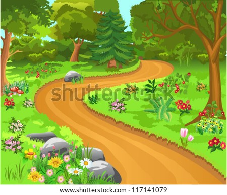 path in the forest - stock vector