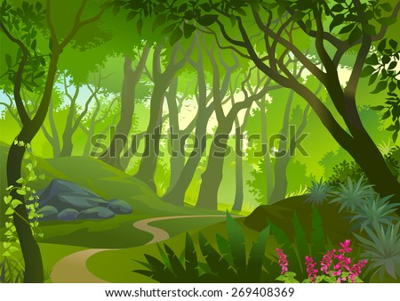 Pathway Through A Dense Forest - stock vector