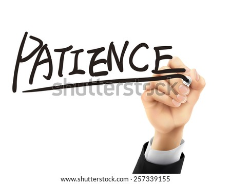 patience word written by hand on a transparent board - stock vector