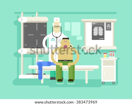 Patient and doctor character - stock vector