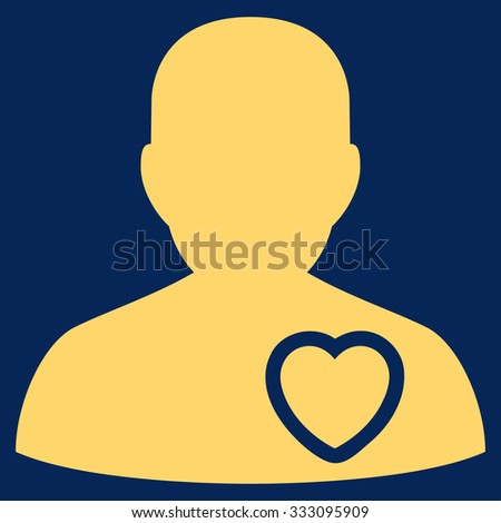 Patient Heart vector icon. Style is flat symbol, yellow color, rounded angles, blue background. - stock vector