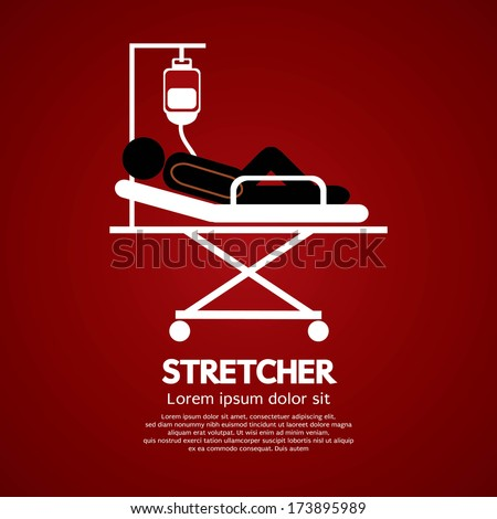Patient Lay Down On Stretcher - stock vector