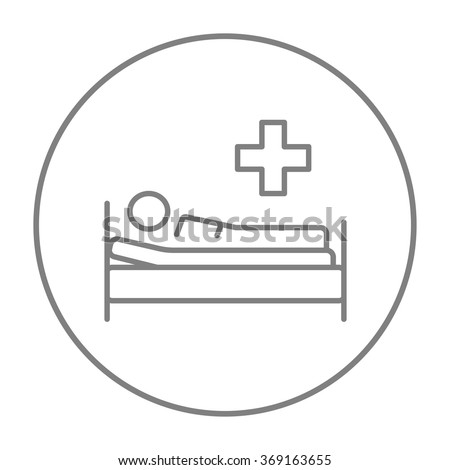 Patient lying on bed line icon. - stock vector