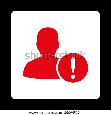 Patient Problem vector icon. Style is flat rounded square button, red and white colors, black background. - stock vector