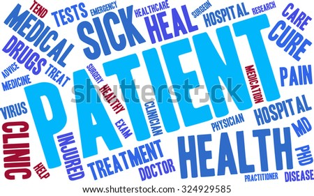 Patient word cloud on a white background.